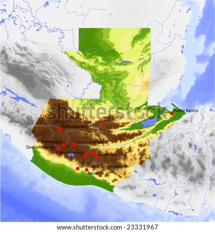 Guatemala. Physical vector map, colored according to elevation, with rivers and selected cities. Surrounding territory greyed out. 64 layers, fully editable. Data source: NASA - stock vector