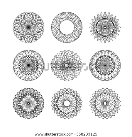 Guilloche decorative elements. Vector set of frames for vouchers, diplomas and certificates - stock vector