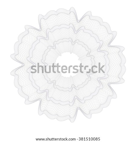 Guilloche Pattern Rosette for Certificate, Play Money or Other Security Papers - Vector Illustration. - stock vector