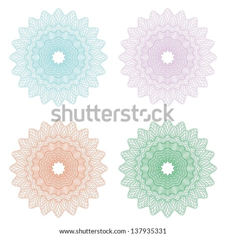 Guilloche pattern used in currency, tickets, diplomas, certificates, money - stock vector