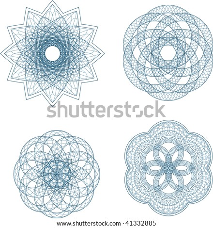 Guilloche vector elements for diploma or certificate - stock vector