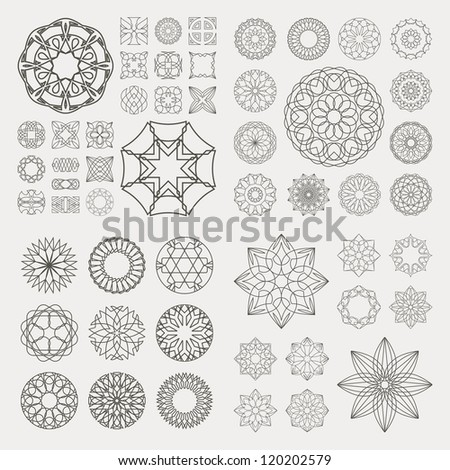 Guilloche vector elements. GREAT COLLECTION. - stock vector