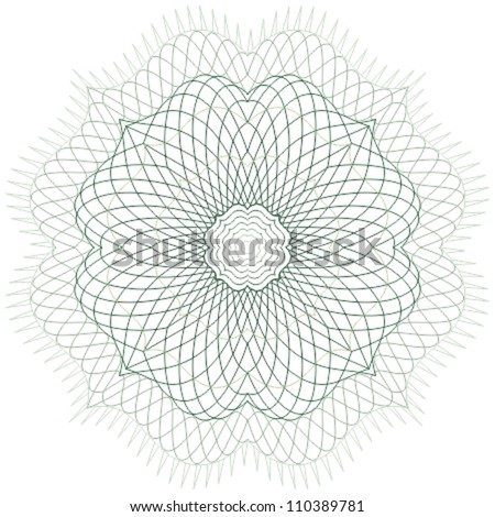 Guilloche vector rosette for certificate or diploma / currency and money design / CMYK color / All lines and colors are easy editable - stock vector