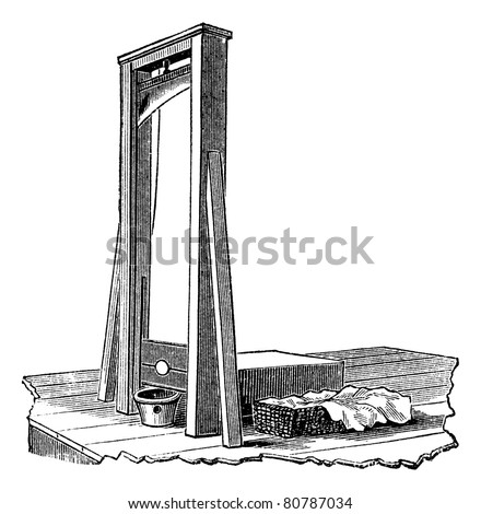 Guillotine isolated on white, vintage engraved illustration. Trousset encyclopedia (1886 - 1891). - stock vector