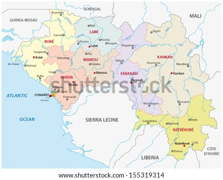 Guinea Administrative Map Stock Vector 155319314 Shutterstock