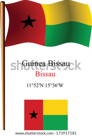 guinea bissau wavy flag and coordinates against white background, vector art illustration, image contains transparency