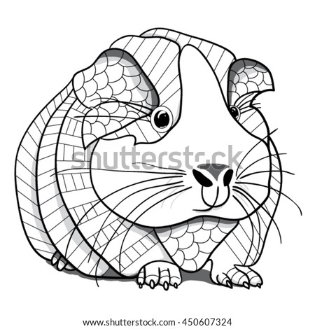 Guinea Pig Coloring Page Stock Vector 450607324 - Shutterstock