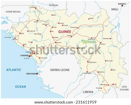 guinea road map - stock vector