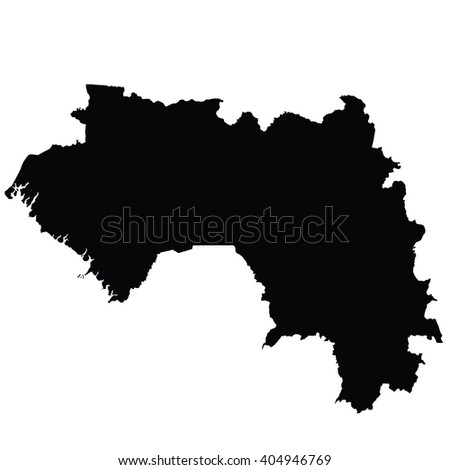 Guinea vector map isolated on white background silhouette. High detailed illustration. - stock vector