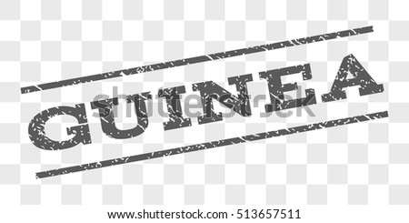 Guinea watermark stamp. Text tag between parallel lines with grunge design style. Rubber seal stamp with unclean texture. Vector grey color ink imprint on a chess transparent background.