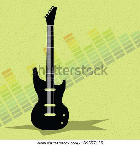 guitar and equalizer background vector - stock vector