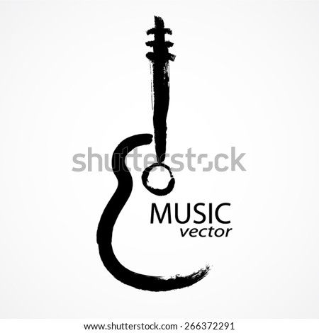 guitar brush shape / music vector - stock vector