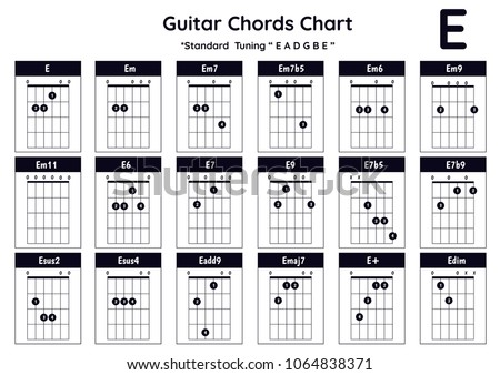 Guitar Chords E Em Em 7 Em 7 B 5 Stock Vector HD (Royalty Free ...