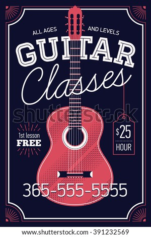 Guitar classes vector poster or banner template with vintage feel, sample text. Musical education concept layout. Ideal for flyers, posters and advertisement - stock vector
