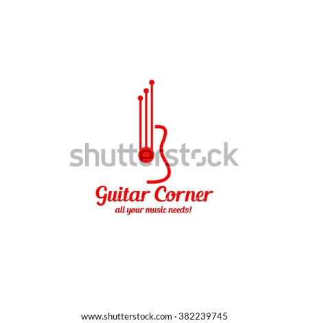Guitar corner logo. vector illustration. Best for guitar business, concert, publication, advertisement, lesson design template. White background. - stock vector