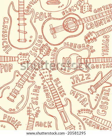 Guitar doodles!  Visit my portfolio for a huge collection of hand-drawn doodles. - stock vector