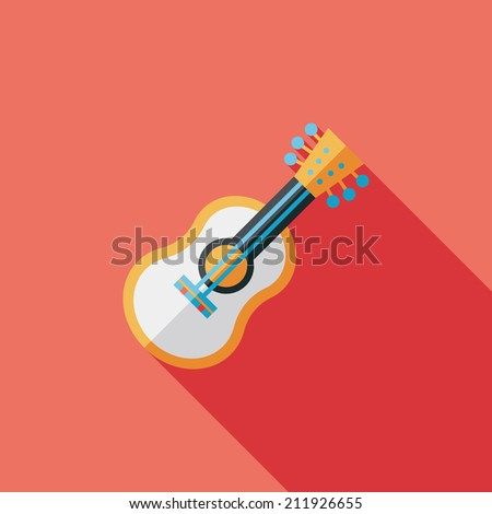 guitar flat icon with long shadow - stock vector