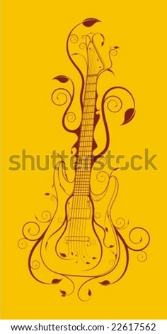 guitar full ornate - stock vector