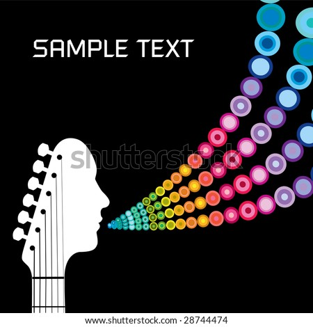 Guitar headstock man with circles and space for text - stock vector