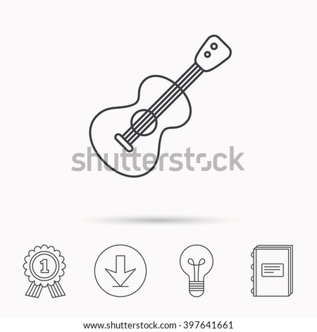 Guitar icon. Musical instrument sign. Band guitarist symbol. Download arrow, lamp, learn book and award medal icons. - stock vector