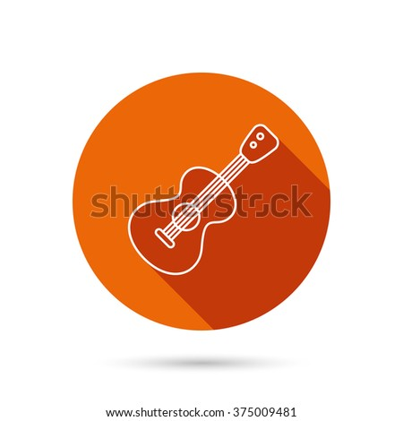 Guitar icon. Musical instrument sign. Band guitarist symbol. Round orange web button with shadow. - stock vector