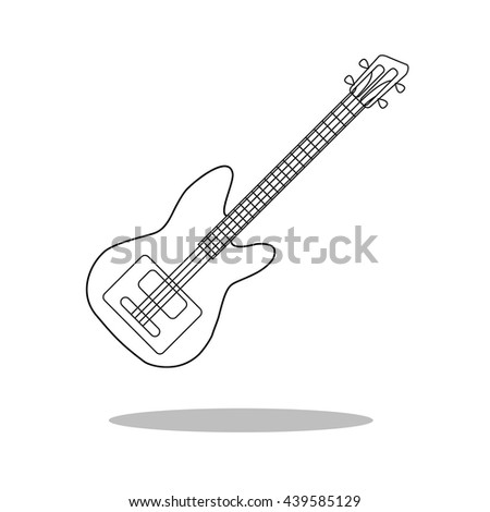 Guitar Icon Vector. musical instrument silhouette.
