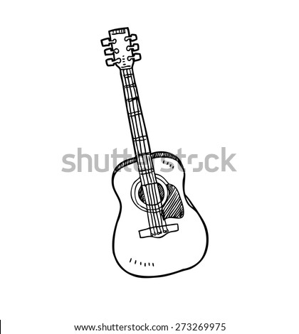 guitar in doodle style   - stock vector