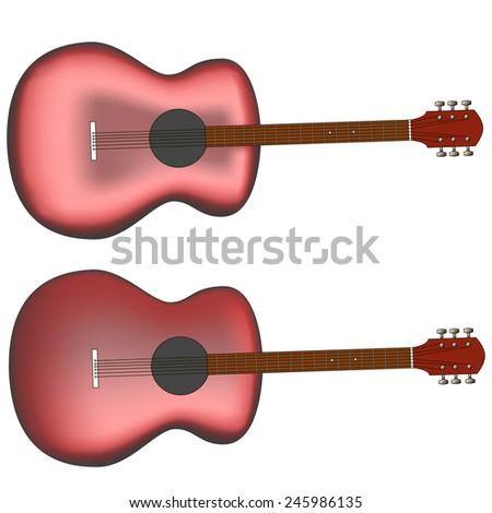 guitar isolated on black vector, editable - stock vector