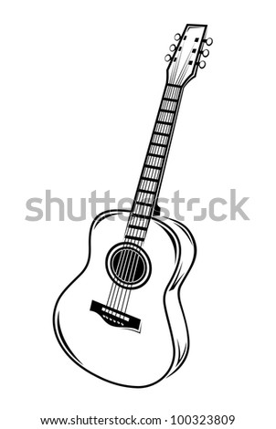 Guitar isolated on white background, such logo. Jpeg version also available in gallery - stock vector