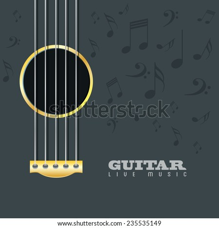 Guitar live music poster background - stock vector
