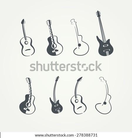 guitar logo template - stock vector