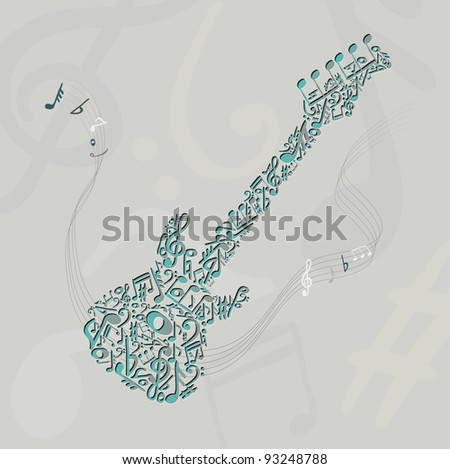 Guitar made of some musical notes - stock vector