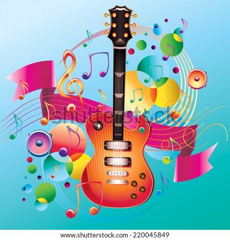 Guitar melody/modern music design - stock vector