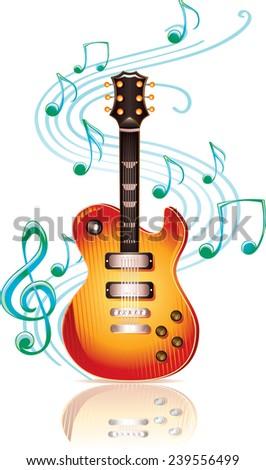 Guitar & notes - stock vector