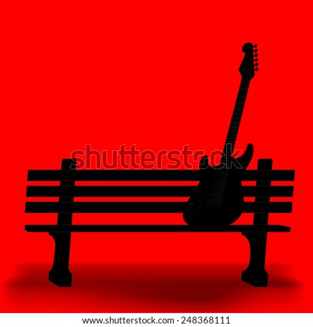 Guitar on a park bench music background - stock vector