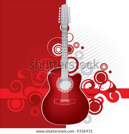 Guitar on a red abstract background - stock vector
