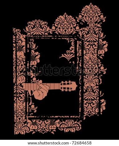 Guitar Ornate - stock vector