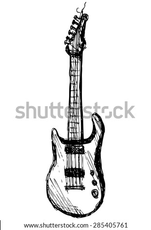 guitar over white background, hand drawing, vector - stock vector