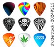 Guitar picks or plectrums with custom designs - stock vector