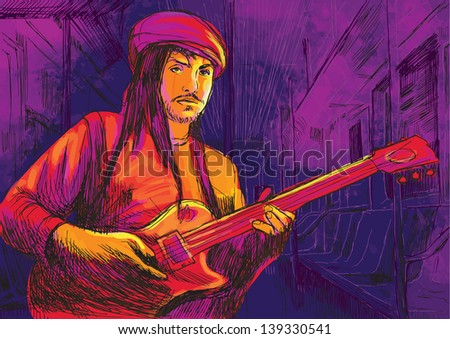 Guitar player  - A hand drawn illustration of an musician playing guitar playing in the subway car - Hand drawing converted into vector (7 layers). - stock vector