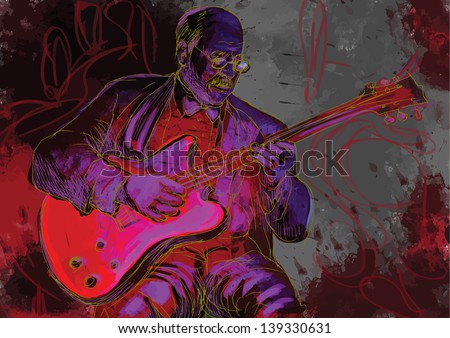 Guitar player  - A hand drawn illustration of an old stager playing guitar in the night club - Hand drawing converted into vector (3 layers). - stock vector
