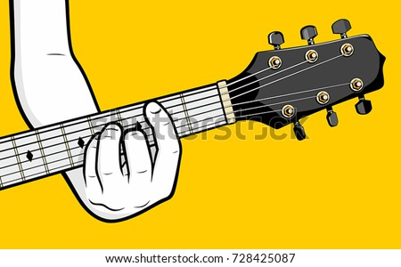 Guitar Player Hand Playing B Minor Stock Vector (Royalty Free ...