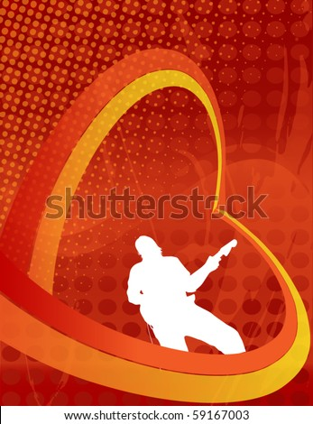 Guitar Player Illustration - stock vector