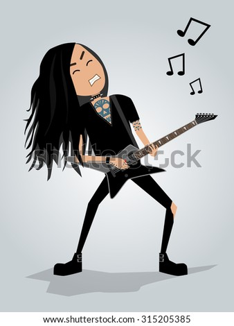 Guitar player. Metal. Editable vector illustration. - stock vector