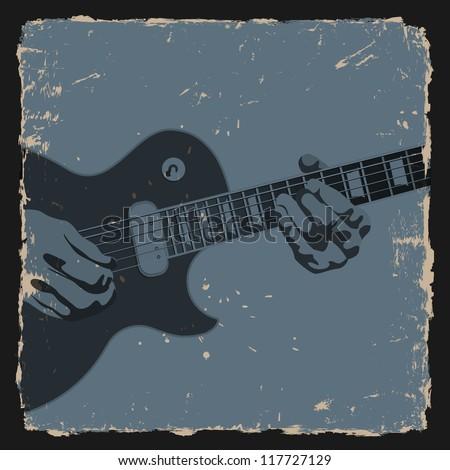 Guitar player on grunge background. Vector illustration - stock vector