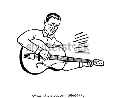 Guitar Player - Retro Clip Art - stock vector