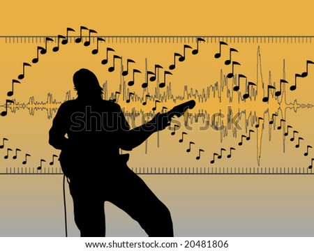 Guitar Player Vector Illustration - stock vector