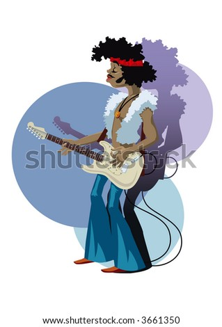 Guitar playing rock and roll star. Vector EPS-File.