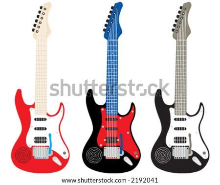 guitar, red guitar, black guitar, blue guitar - stock vector