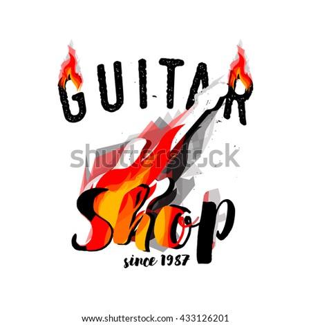 Guitar Shop Logotype Concept. Guitar Shop vector, Guitar Shop logo, Guitar Shop badge, Guitar Shop label, Guitar Shop isolated, Guitar Store logo, Guitar Shop eps, Guitar Shop JPG, Guitar Shop emblem - stock vector